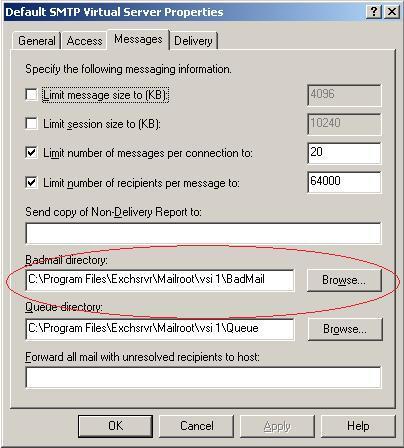 Как очистить папку badmail в exchange?