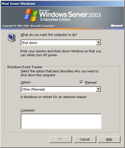 Выключение Windows 2003
