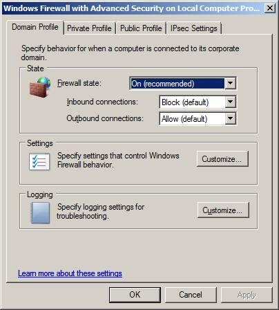 Как настроить Windows server 2008 firewall?