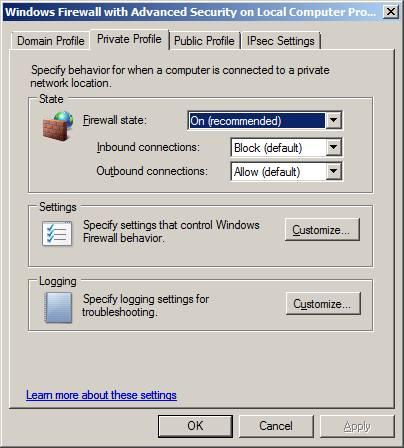 Windows firewall поменять активный профиль