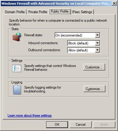 Консоль firewall Windows