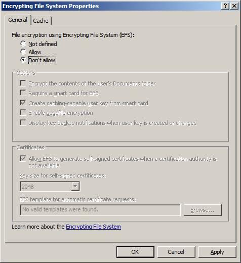 Шифрование данных Windows 2003