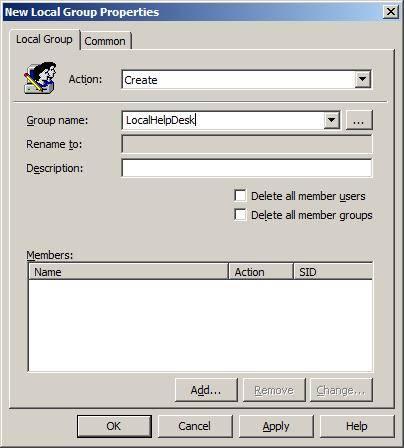 Создание новой группы server 2003