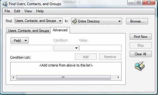Active directory поиск дополнительно