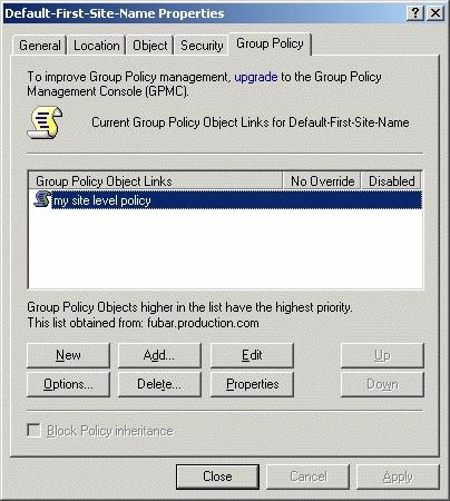 Применение нижестоящей групповой политики