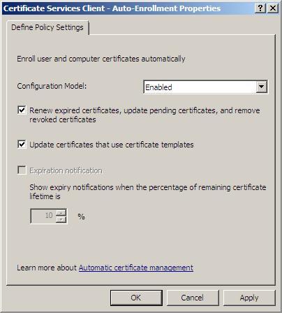 Включение шаблонов сертификатов отсутствует созданный шаблон