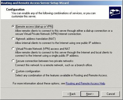 Настроить nat на Windows server 2003
